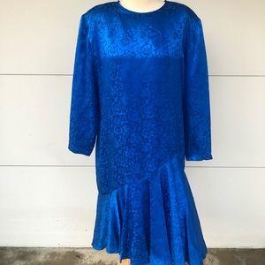 Vintage Spenser Jeremy Blue Silk Dress Sz 16